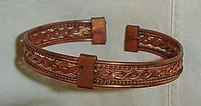 Vintage  solid copper braided clamp bracelet
