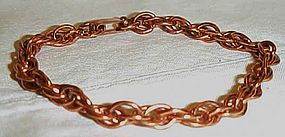 Vintage double link solid copper bracelet