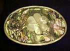 Vintage Mexico silver and abalone buckle flower center
