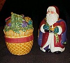 Large Santa and basket of Toys salt pepper shakers