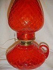 Fenton Colonial orange Diamond Optic courting oil lamp