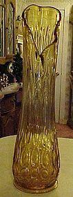 "Large amber swing style floor vase 20.5"""
