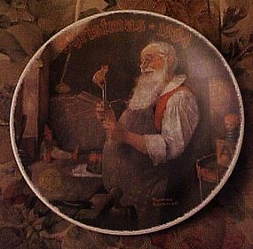Norman Rockwell Santa in his workshop 1984 plate
