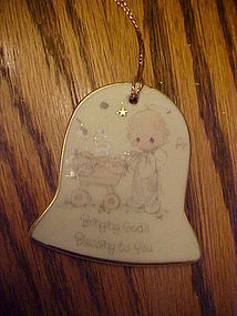Precious Moments flat bell ornament for new baby