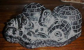 Vintage Nuvuk Canada Eskimo family igloo's carving