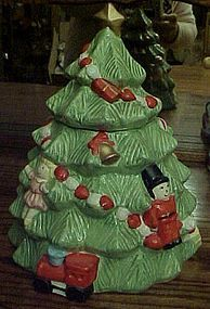 Hand painted ceramic Christmas tree cookie jar