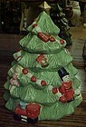 Hand painted ceramic Christmas tree cookie jar