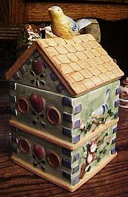 Bluebird house cottage cookie jar