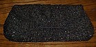 Bon Soir black satin beaded purse 1940's