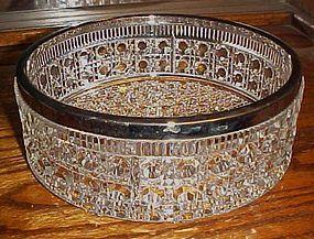 Lg button and Cane pattern bowl siv/pl rim England