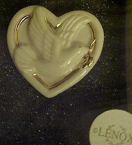 Lenox heart shape pin with peace dove
