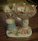 Vintage child at bird bath figurine porcelain lace