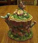BICO Butterfly and bluebird on a stump cookie jar