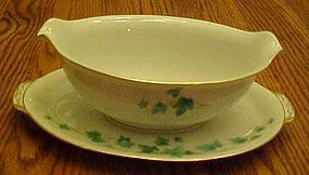 Sango Caprice Green Ivy gravy boat with under plate
