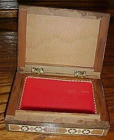 Vintage inlay mosaic wood jewelry  stash box