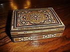 Vintage inlay mosaic wood jewelry  stash box