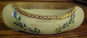 Antique blue milk glass canoe souvenir hand painted