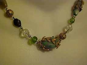 Cookie Lee glass beaded necklace with metal vine wrap