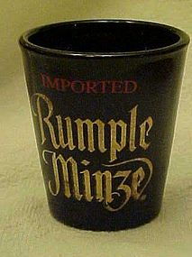 Imported Rumple Minze brand advertising shot glass