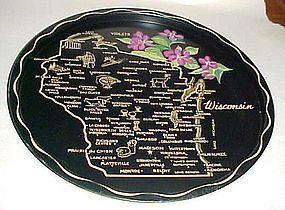 Black metal Wisconsin State souvenir tray