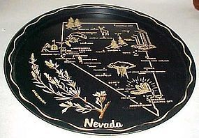 Black metal Nevada souvenir plate tray
