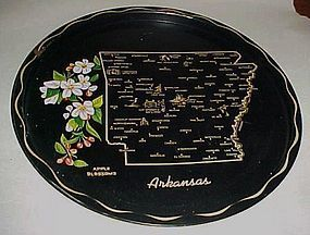 Black metal souvenir Arkansas state plate