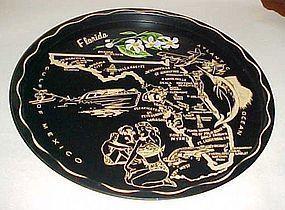 Black metal souvenir Florida state plate tray