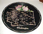 Black metal souvenir washington State plate tray