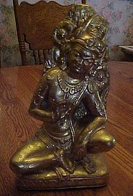 Large gold Siamese Bali dancer statue