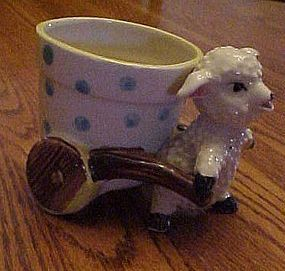 Vintage lamb or sheep pulling flower pot cart