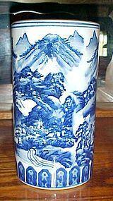 Vintage Asian blue and white cylinder vase