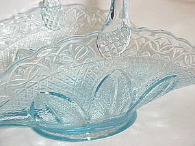 Princess House ice blue brides basket by Fenton