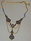 Victorian style  blue necklace newer Bohoemian
