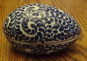 Vintage blue and white porcelain egg shape box