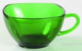 Fire King forest green Charm square cup