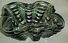 Large Italian art glass cigar ashtray clear and emerald