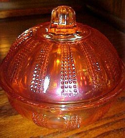 Diamond Point Columns Marigold carnival powder jar