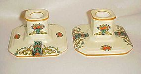 Crown Ducal 1491 candle holders Deco basket and flowers