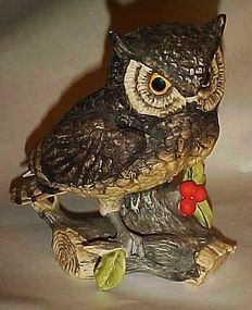 "Large 7"" Josef Originals bisque Owl n berries figurine"