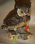 "Large 7"" Josef Originals bisque Owl n berries figurine"