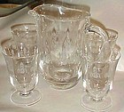 Vintage Lenox Crystal pitcher and glasses LIGHTHOUSE