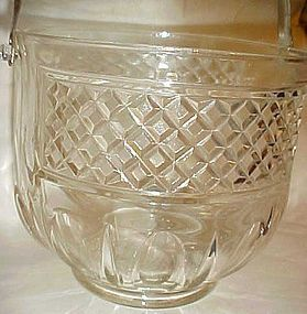 Vintage Shepherd's Plaid crystal clear glass ice bucket