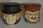 Old hand painted Toby head salt and pepper shaker set