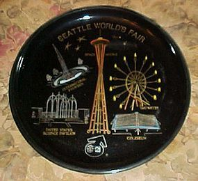 Seattle Worlds Fair black souvenir plate tray