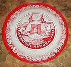 Vintage Yellowstone National Park metal red white tray