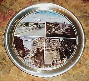 Vintage Royal Gorge Colorado souvenir aluminum tray