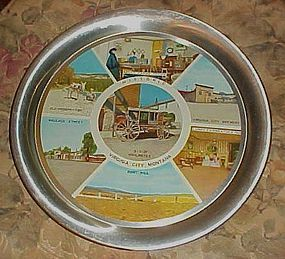 Vintage aluminum netal souvenir tray Virginia City