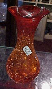 Pretty amberina crackle glass vase