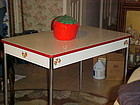 1930's  enamel  porcelain kitchen table red and white