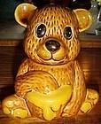 Vintage ceramic brown  bear honey jar